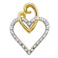 10kt Yellow Gold Womens Round Diamond Double Joined Heart Pendant 1/12 Cttw