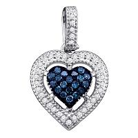 10kt White Gold Womens Round Blue Color Enhanced Diamond Framed Heart Pendant 1/5 Cttw