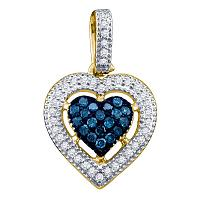 10kt Yellow Gold Womens Round Blue Color Enhanced Diamond Framed Heart Pendant 1/5 Cttw