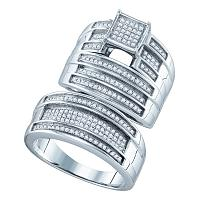 Sterling Silver His & Hers Round Diamond Cluster Matching Bridal Wedding Ring Band Set 1/2 Cttw