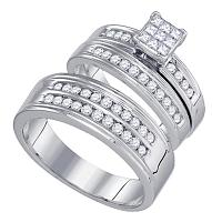 14kt White Gold His & Hers Princess Diamond Cluster Matching Bridal Wedding Ring Band Set 1.00 Cttw