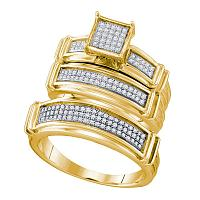 10kt Yellow Gold His & Hers Diamond Square Cluster Matching Bridal Wedding Ring Band Set 3/8 Cttw