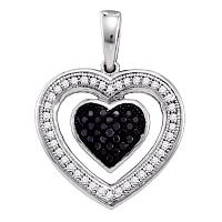 10k White Gold Black Color Enhanced Diamond Womens Heart Love Anniversary Pendant 1/5 Cttw
