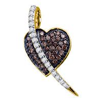 10kt Yellow Gold Womens Round Cognac-brown Color Enhanced Diamond Heart Love Pendant 1/2 Cttw