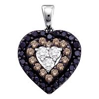 14kt White Gold Womens Round Black Color Enhanced Diamond Heart Love Pendant 1/2 Cttw