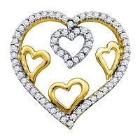 10kt Yellow Gold Womens Round Diamond Nested Heart Love Pendant 1/5 Cttw