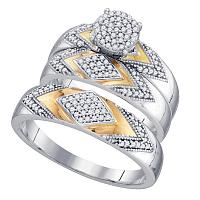 10kt Two-tone Gold His & Hers Round Diamond Cluster Matching Bridal Wedding Ring Band Set 3/8 Cttw