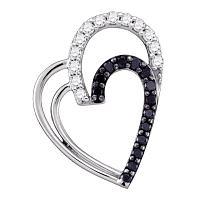 10kt White Gold Womens Round Black Color Enhanced Diamond Double Heart Pendant 1/3 Cttw