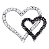 10kt White Gold Womens Round Black Color Enhanced Diamond Double Heart Outline Pendant 1/2 Cttw