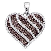 10kt White Gold Womens Round Cognac-brown Color Enhanced Diamond Striped Heart Pendant 1.00 Cttw