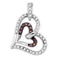 10kt White Gold Womens Round Cognac-brown Color Enhanced Diamond Heart Love Pendant 1/4 Cttw
