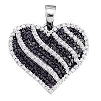10kt White Gold Womens Round Black Color Enhanced Diamond Striped Heart Pendant 1.00 Cttw