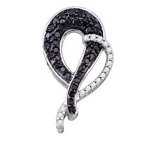 10kt White Gold Womens Round Black Color Enhanced Diamond Heart Love Pendant 1/2 Cttw