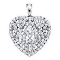 10kt White Gold Womens Round Diamond Heart Cluster Pendant 3/4 Cttw
