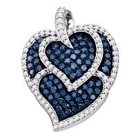 10kt White Gold Womens Round Blue Color Enhanced Diamond Tripled Heart Outline Pendant 1.00 Cttw