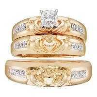 Yellow-tone Sterling Silver His Hers Diamond Claddagh Matching Bridal Wedding Ring Set 1/8 Cttw