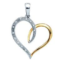 Sterling Silver Womens Round Diamond Two-tone Heart Pendant 1/20 Cttw
