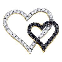 10kt Yellow Gold Womens Round Black Color Enhanced Diamond Double Heart Pendant 1/2 Cttw