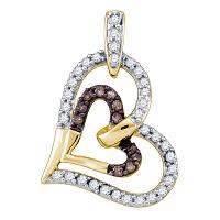 10kt Yellow Gold Womens Round Cognac-brown Color Enhanced Diamond Heart Love Pendant 1/3 Cttw