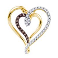 10k Yellow Gold Cognac-brown Color Enhanced Round Diamond Double Heart Love Pendant 1/4 Cttw