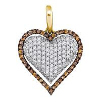 10kt Yellow Gold Womens Round Cognac-brown Color Enhanced Diamond Outline Heart Cluster Pendant 7/8 Cttw