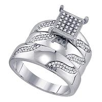 Sterling Silver His & Hers Round Diamond Cluster Matching Bridal Wedding Ring Band Set 3/8 Cttw