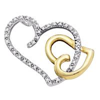 10kt Two-tone Gold Womens Round Diamond Heart Love Pendant 1/6 Cttw
