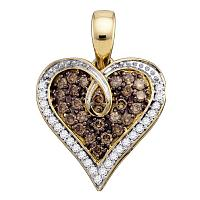 10kt Yellow Gold Womens Round Brown Color Enhanced Diamond Heart Pendant 1/2 Cttw