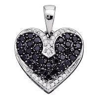 10kt White Gold Womens Round Black Color Enhanced Diamond Dainty Heart Pendant 1/2 Cttw
