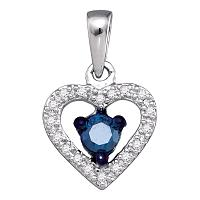 10kt White Gold Womens Round Blue Color Enhanced Diamond Solitaire Heart Pendant 1/4 Cttw