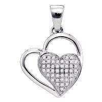 Sterling Silver Diamond Heart Love Anniversary Charm Pendant 1/10 Cttw