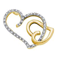 14kt Two-tone Gold Womens Round Diamond Heart Love Pendant 1/6 Cttw