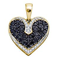 10kt Yellow Gold Womens Round Black Color Enhanced Diamond Dainty Heart Pendant 1/2 Cttw