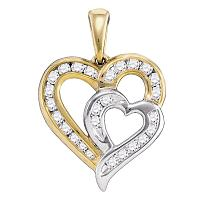 10kt Yellow Gold Womens Round Diamond Heart Love 2-tone Pendant 1/3 Cttw