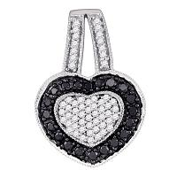 10kt White Gold Womens Round Black Color Enhanced Diamond Heart Pendant 1/2 Cttw