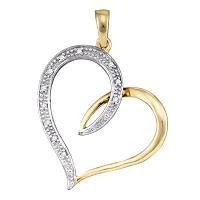 10kt Yellow Gold Womens Round Diamond 2-tone Heart Love Pendant 1/20 Cttw