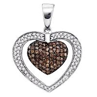 10kt White Gold Womens Round Cognac-brown Color Enhanced Diamond Double Heart Cluster Pendant 1.00 Cttw