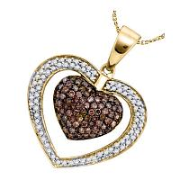 10kt Yellow Gold Womens Round Cognac-brown Color Enhanced Diamond Double Heart Cluster Pendant 1.00 Cttw