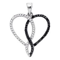10kt White Gold Womens Round Black Color Enhanced Diamond Heart Outline Pendant 1/3 Cttw