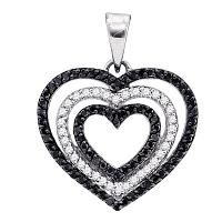 10kt White Gold Womens Round Black Color Enhanced Diamond Triple Nested Heart Pendant 5/8 Cttw