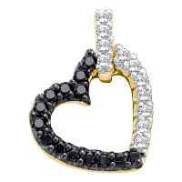 10kt Yellow Gold Womens Round Black Color Enhanced Diamond Dangling Heart Pendant 1/3 Cttw