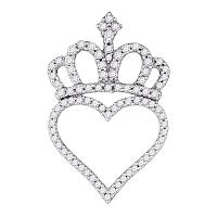 10kt White Gold Womens Round Diamond Crown Heart Pendant 1/3 Cttw
