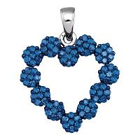 10kt White Gold Womens Round Blue Color Enhanced Diamond Cluster Heart Pendant 1.00 Cttw