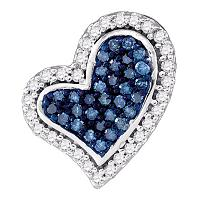 10kt White Gold Womens Round Blue Color Enhanced Diamond Heart Love Pendant 1/8 Cttw