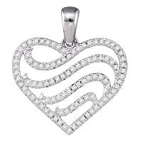 10kt White Gold Womens Round Diamond Striped Heart Pendant 1/3 Cttw
