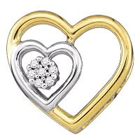 10kt Yellow Gold Womens Round Diamond Heart Love Pendant .03 Cttw
