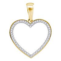 Yellow-tone Sterling Silver Womens Round Diamond Heart Outline Pendant 1/6 Cttw
