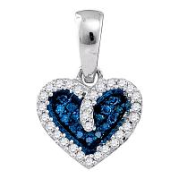 10k White Gold Blue Color Enhanced Round Diamond Womens Heart Pendant 1/10 Cttw
