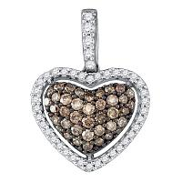 10kt White Gold Womens Round Cognac-brown Color Enhanced Diamond Heart Love Pendant 3/8 Cttw