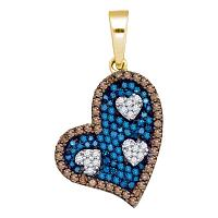 10kt Yellow Gold Womens Round Blue Color Enhanced Diamond Heart Pendant 3/4 Cttw